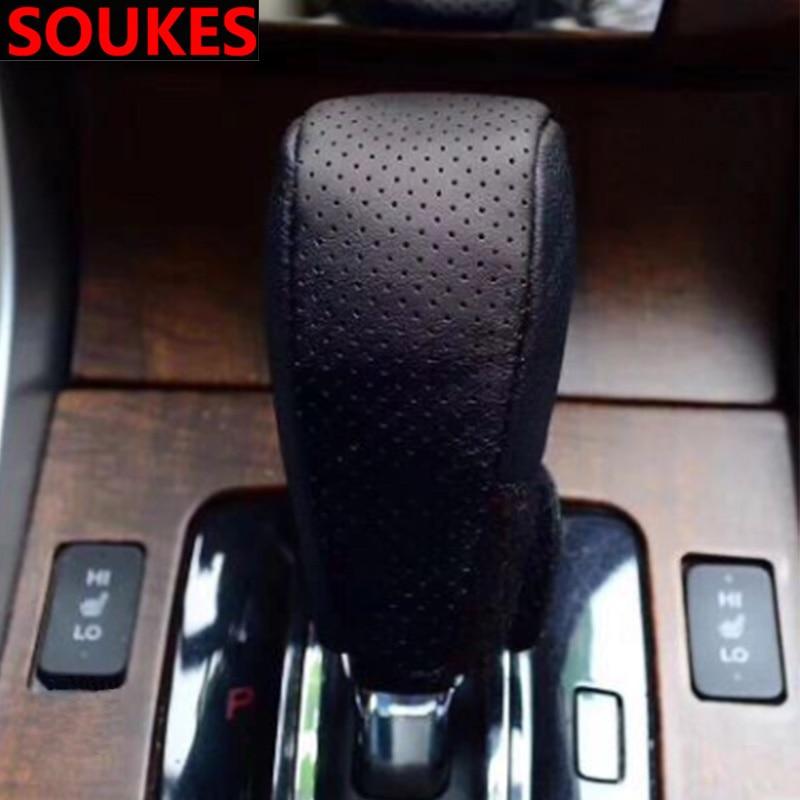 Coche de cuero genuino 5 6 perilla de cambio de velocidad para Seat Leon Ibiza Skoda Octavia a5 A7 rápido Kodiaq acento Hyundai Solaris