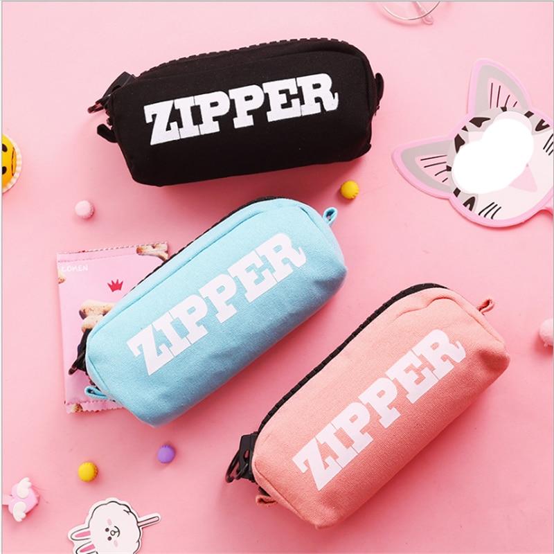 Kawaii Cosmetic Bag Make Up Organizer Storage Case Pencil Case Colorfull Canvas Big Zipper Travel Women Toiletry Bag Wash Pouch