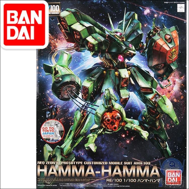 Japaness Bandai Original RE 1/100 Gundam HAMMA NEO ZEON Unchained Mobile Suit Kids Toys BANDAI