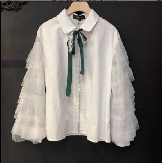2018 nueva moda Primavera Verano mujer pajarita camisa de manga larga Casual gasa costura blusa blanca