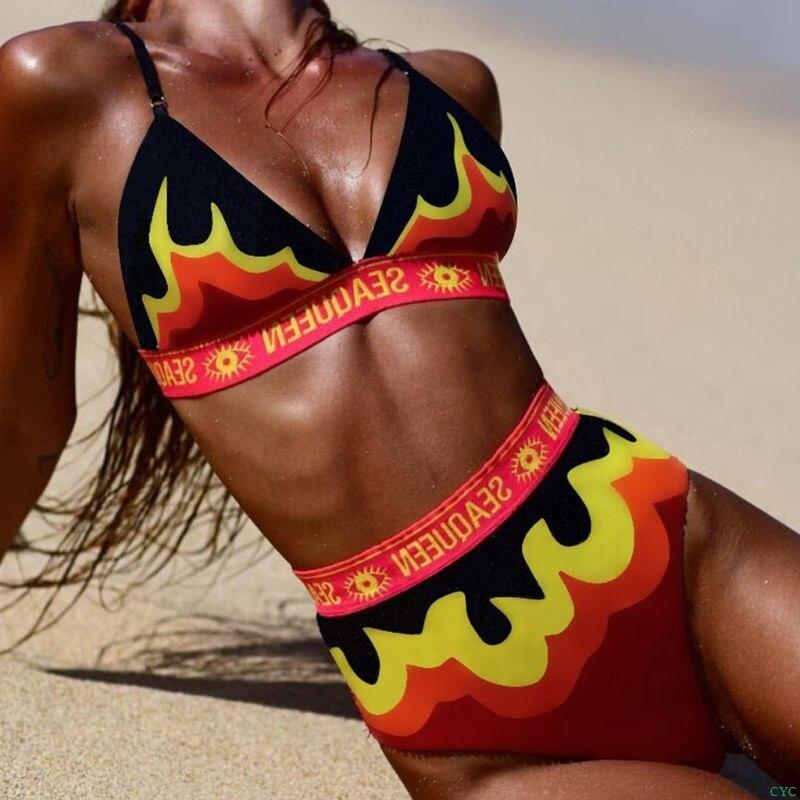 Bikini de dos piezas, Bikini Sexy para mujer, traje de baño con estampado de llama en colores contrastantes con degradado, ropa de baño de cintura alta con letras