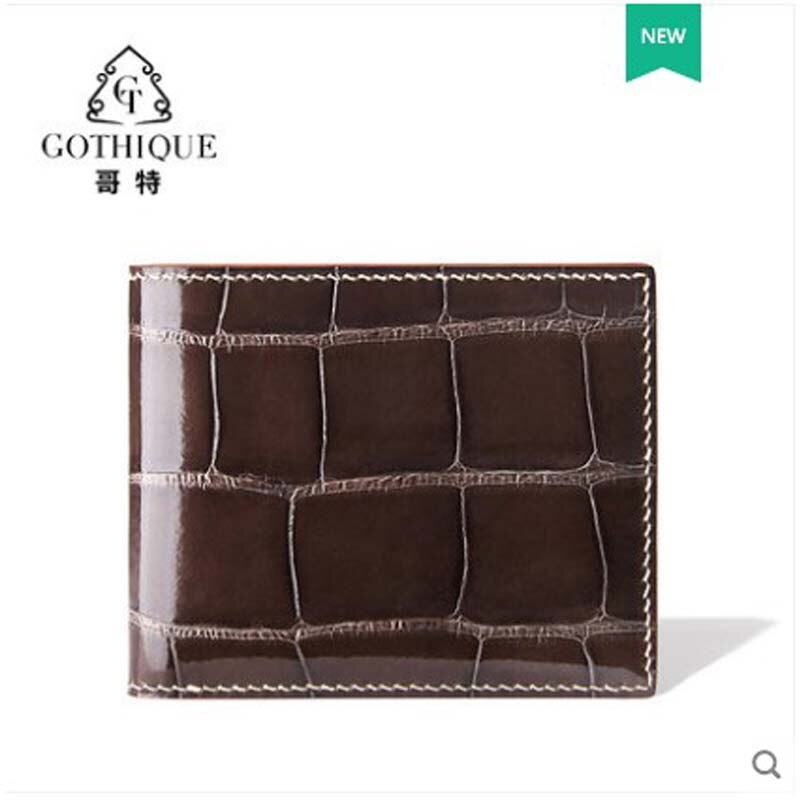 gete Crocodile wallet for men short imported alligator smooth belly handmade genuine leather horizontal wallet