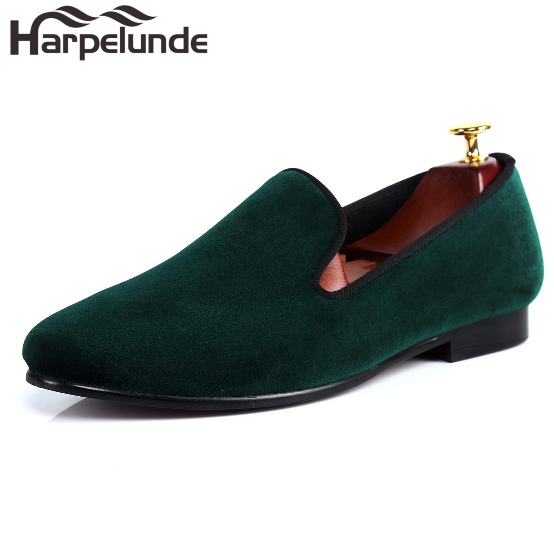 Harpelunde-حذاء موكاسين مخملي أخضر للرجال ، حذاء مسطح بدون أربطة ، مقاس 6-14