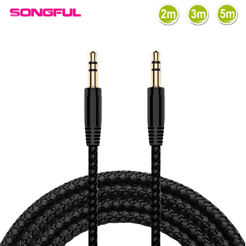 2/3/5m Nylon Braid Jack 3.5mm Audio Cable Male 3.5 mm Stereo AUX Cable M/M Headphone Cord for iPhone