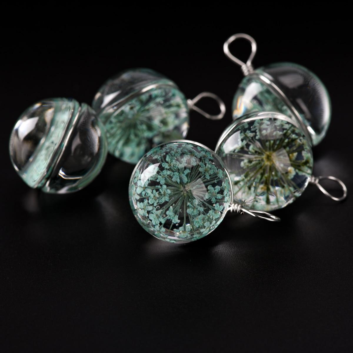 18 # bola de cristal de alambre de hierro y cadena de flores no cristal para DIY pendientes pulsera collar joyería hacer cuentas # IZ323