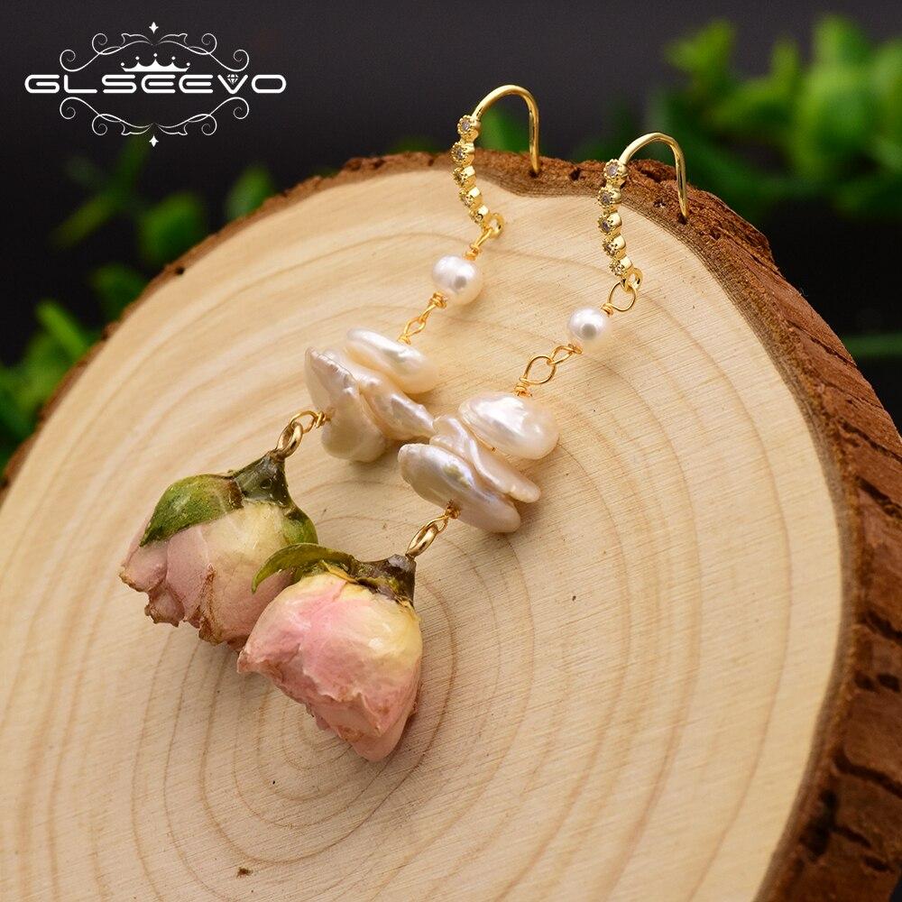 GLSEEVO Natural Fresh Water Baroque Pearl Handmade Really Flower Drop Earrings For Women Custom Party Earrings Jewelry GE0492