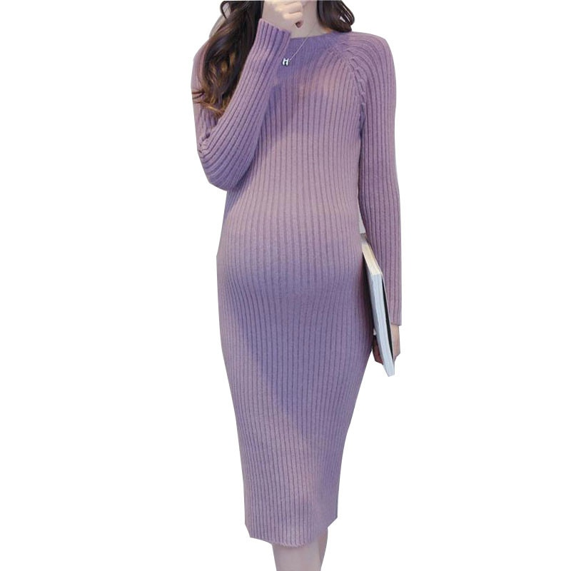 Maternity Elastic Dress Thick Winter Knitted Sweater Boat neck Pullover Casual Full Sleeve Knee-Length Pregnant Women Clothings