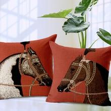Housse de coussin de cheval   Taie doreiller en forme de cheval rouge, taie doreiller de style cour européenne, animal de dessin animé, vente en gros