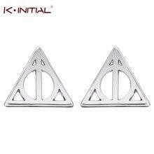 Kinitial 10 paire mode européenne femmes Triangle boucles doreilles marque Designer évider reliques de mort Luna boucles doreilles déclaration
