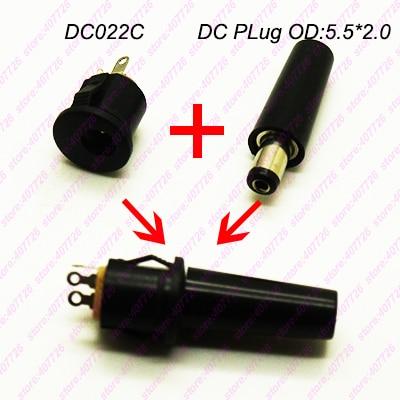 10PCS DC enchufe Terminal O.D.5.5 x 2,0 DC hembra + conector macho de soldadura para iluminación DIY DC-022C
