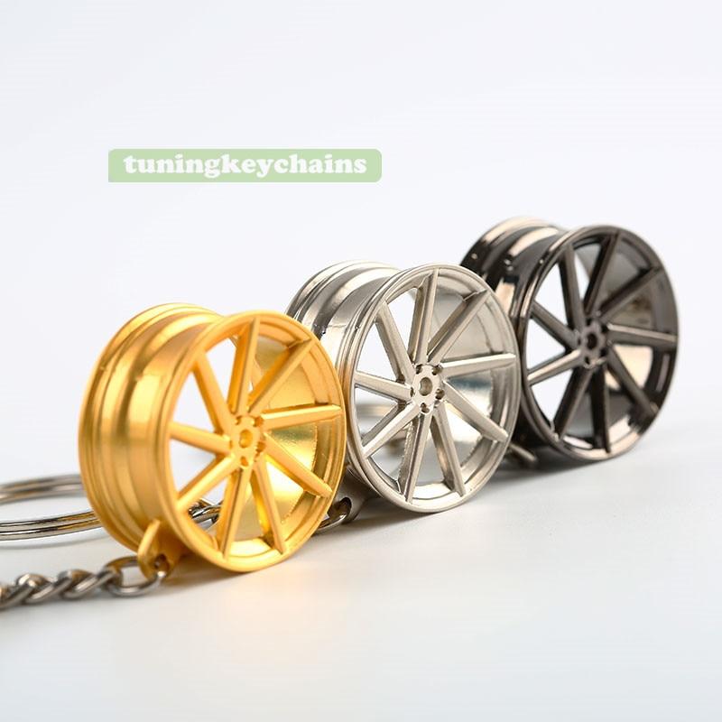 New Alloy Car Auto Wheel Rim Mini Keychain Key Chain Keyring Pendent CVT Design