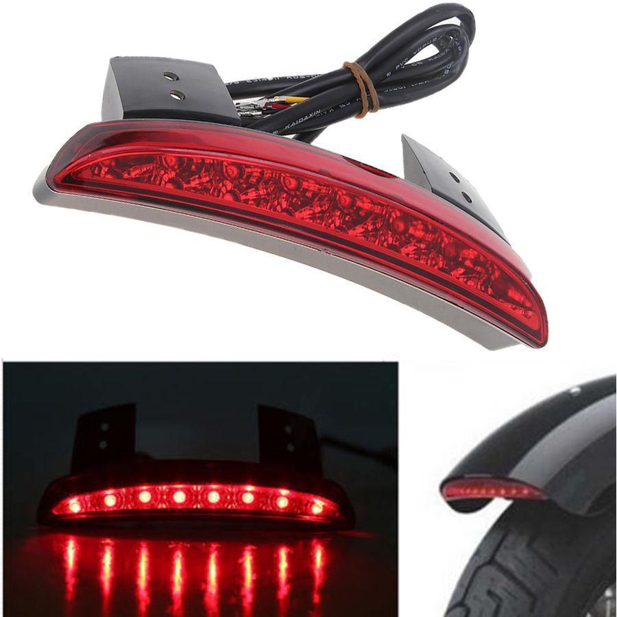 Lente roja Borde de guardabarros motocicleta 8 LED rojo freno de parada luz trasera para Harley Sportster XL 883N 1200N XL1200V