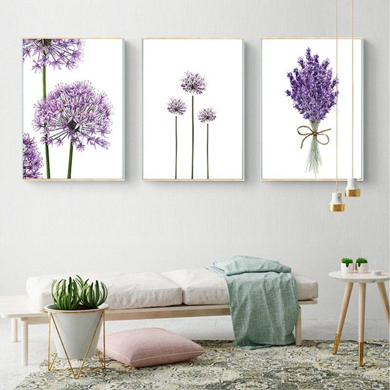 Póster moderno Escandinavo de flores de lavanda púrpura, lienzo moderno de pintura, pósteres de pared verdes e impresiones artísticos para decoración del hogar