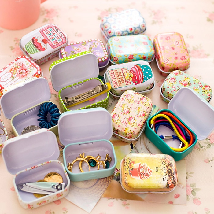 Colorful mini tin box sealed jar packing boxes jewelry, candy box small storage boxes cans coin earrings, headphones gift box