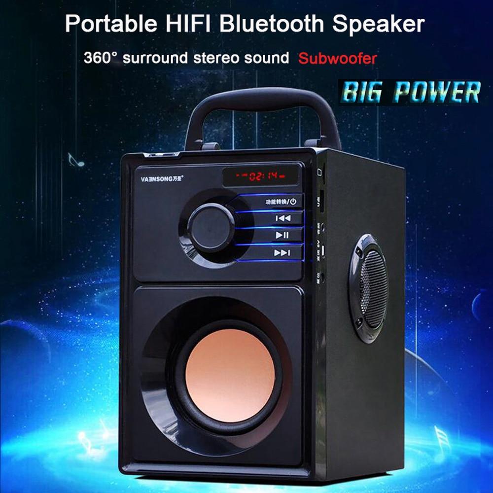 Gran potencia, Altavoz Bluetooth, Subwoofer estéreo inalámbrico, altavoces graves pesados, reproductor de música, soporte, pantalla LCD, Radio FM, TF 2500mAH