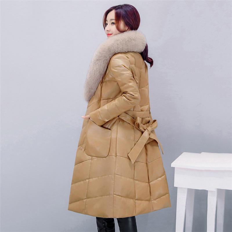 LDHTZKCX Solid Color Large Size Long-sleeved PU Imitation Leather Coat Women 2018 Winter New Fashion Long Bow Slim Coats LD541 enlarge
