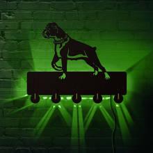 Boxer chien ménage décor LED éclairé mur crochets animaux animal carlin chiot mur manteau vêtements manteau crochet clés titulaire chien amant cadeau