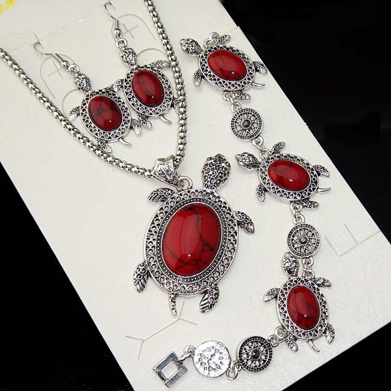Plata antigua 3 uds tortuga roja turquesa Natural collar pendientes pulsera Animal Vintage conjunto de joyería para mujer A1045