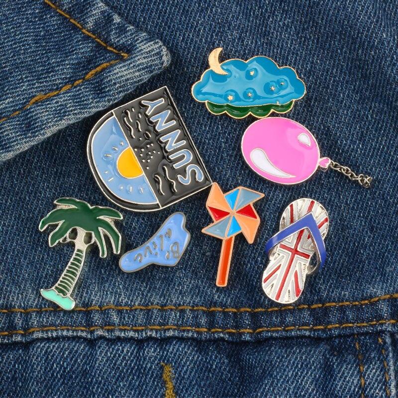 Summer Beach Series Cartoon Brooch Coconut Tree Windmill Balloon Cloud Slippers Enamel Pins Girl Clothes Lapel Pin Badge Jewelry