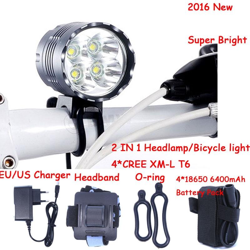 5000 lúmenes 4T6 faro 4 x XML T6 LED bicicleta luz y LED faro 6400mah pack de batería recargable