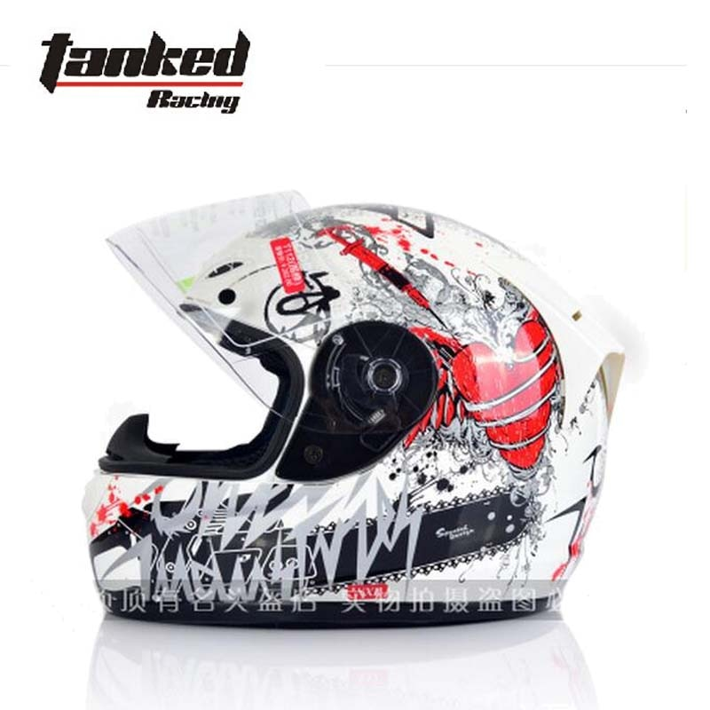 2017 Invierno Caliente Tanked Racing cara completa motocicleta casco ABS cubierta completa cascos de motocicleta con cuello bufanda