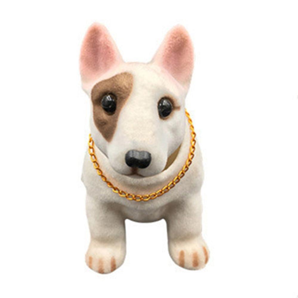 Cabeza temblorosa perro de la suerte diseño de coche Nodding perro Auto Dashboard Bull peluche Terrier Bobblehead perro coche ornamento mecedora juguete perro