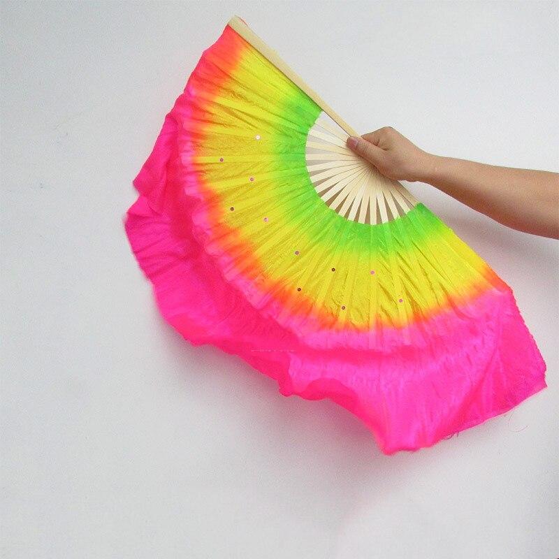 Abanico de baile chino, abanico plegable a mano de doble cara para decoración del hogar, artesanías para fiesta, boda, baile, abanico multicolor de Arte de 45cm
