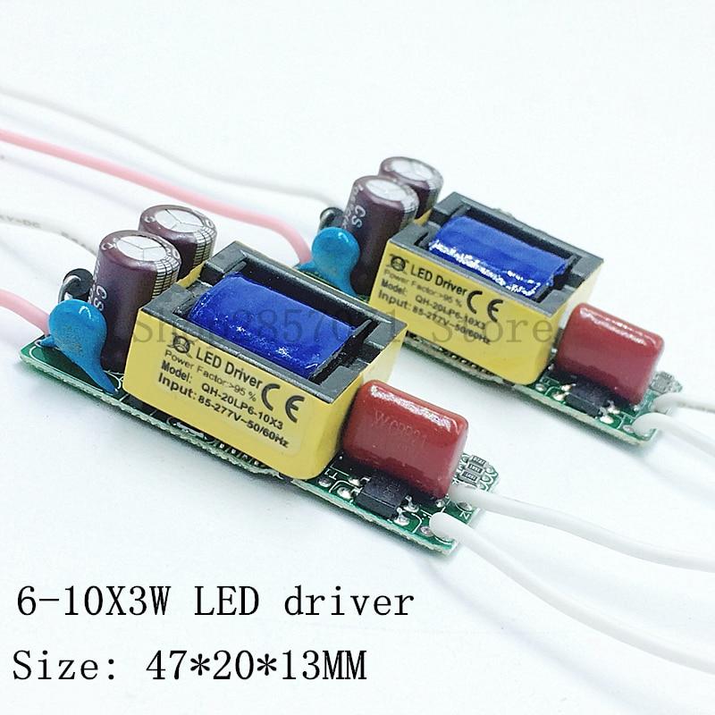 5 piezas aislamiento 20W AC85-277V Controlador LED 6-10x3W 600mA DC18-34V fuente de alimentación para LED de corriente constante bombilla LED para lámpara envío gratis