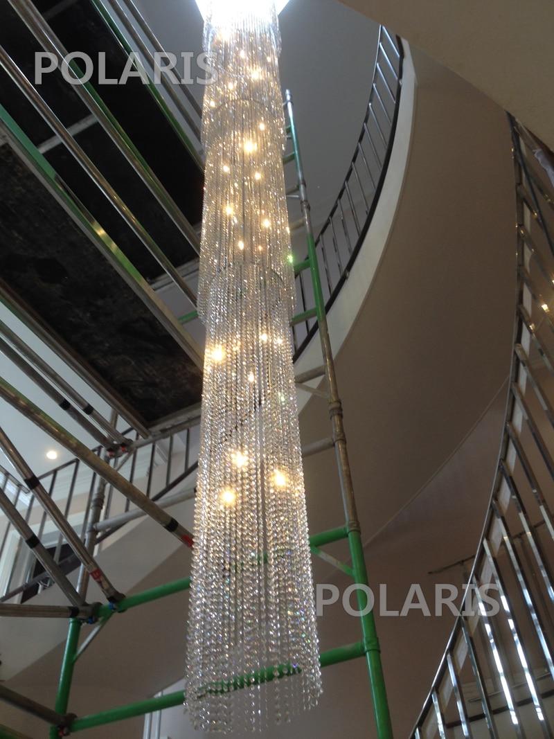 Staircase Chandelier Large Big Crystal Bead Chandelier LED Crystal Chains Pendant Hanging Light Home Villa Lighting D55cm H600cm