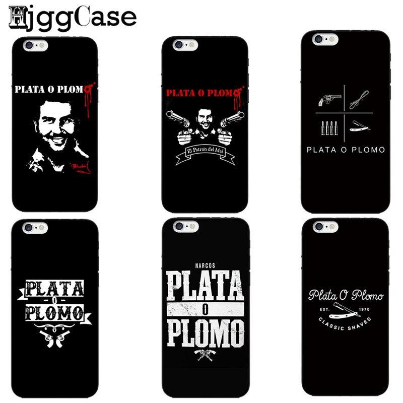 Plata O Plomo Narcos Pablo Escobar Plata O Plomo para Iphone 5 y 5s SE 6 6S 7 8 Plus funda suave cubiertas para Iphone X Fundas de teléfono