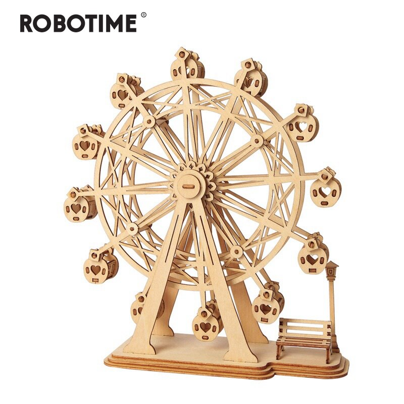 Robotime DIY 3D Laser Cutting Wooden Ferris Wheel Puzzle Game Gift for Children Kids Model Building Kits Popular Toy TG401