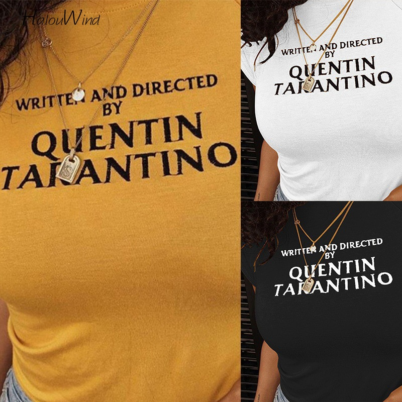Summer Quentin Tarantino Letter Print Yellow T Shirt Cropped Short Sleeve Streetwear Tops Tees Crop Top Camisetas 90s Tee Tshirt