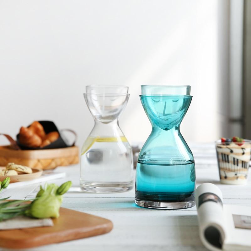 Набор креативных стеклянных бутылок для воды с чашкой термостойкие соки для напитков цветок чайные кувшины для дома и офиса кофе-бар посуда...