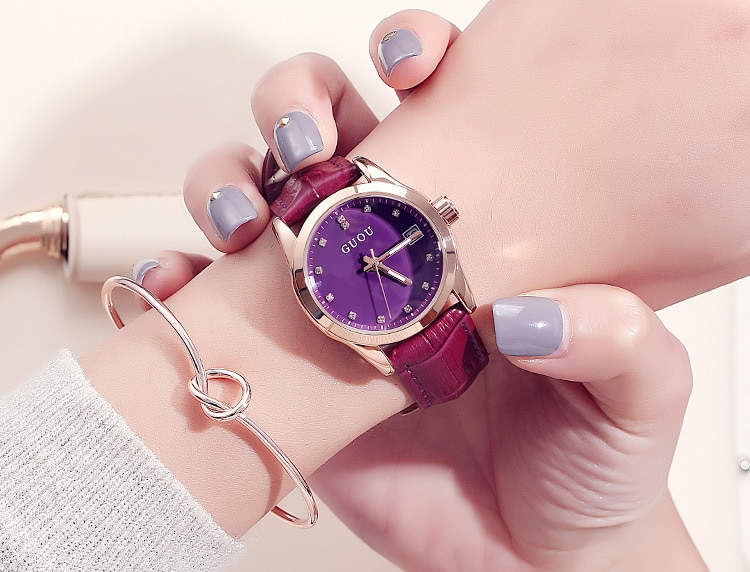 GUOU Luxury Brand Day Date Genuine Leather Strap Woman Casual Quartz Clocks Lady Sports Watches Simple Wristwatch Relogio Female enlarge