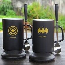 Tazas creativas de café/leche/té de 400ml de superhéroe con temática, taza con tapa y cuchara estilo europeo de oficina