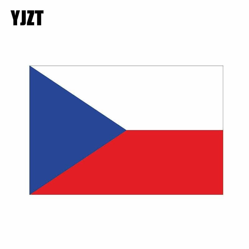 YJZT-autocollant de style voiture   Autocollant créatif, drapeau de la république tchèque, 6-14.8CM * 9.8CM