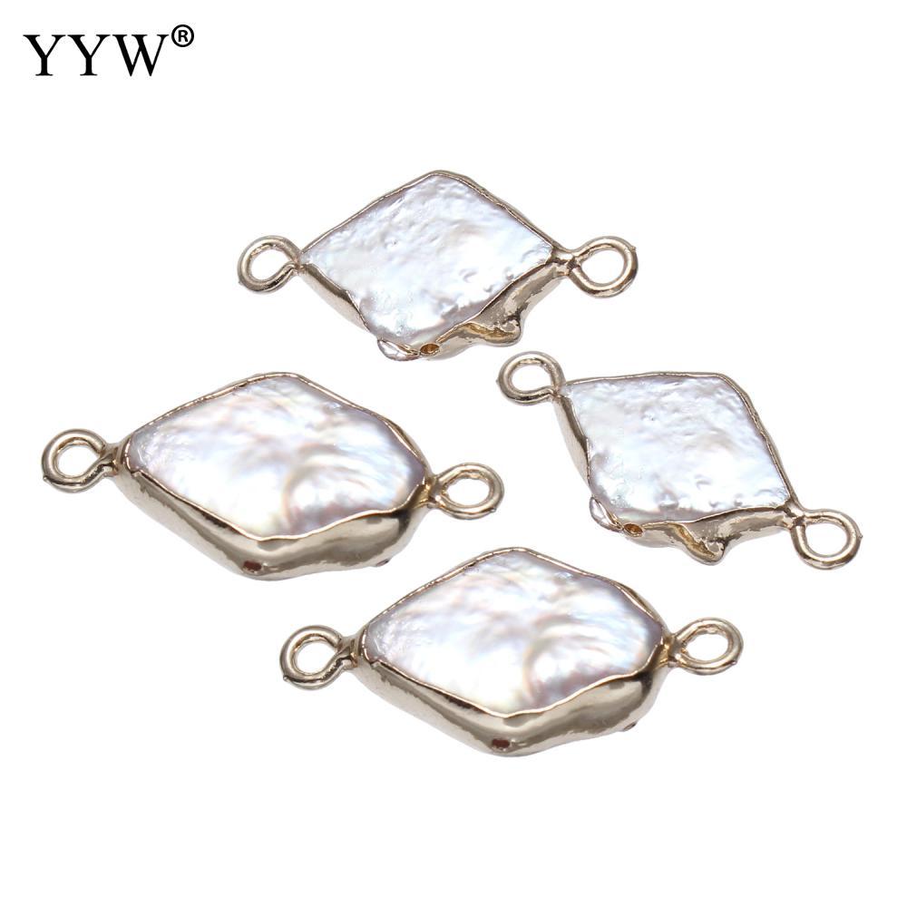 Pendientes de perla de agua dulce natural con latón geométrico de dos agujeros 1/1 loop-aprox. 1,5mm vendido por PC