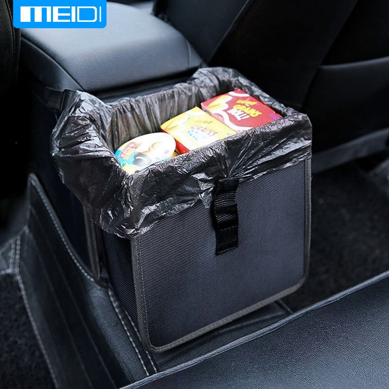 Meidi carro lixo bin confortável carro lata de lixo portátil unidade bin premium pendurado wastebasket assento lixo à prova dwaterproof água