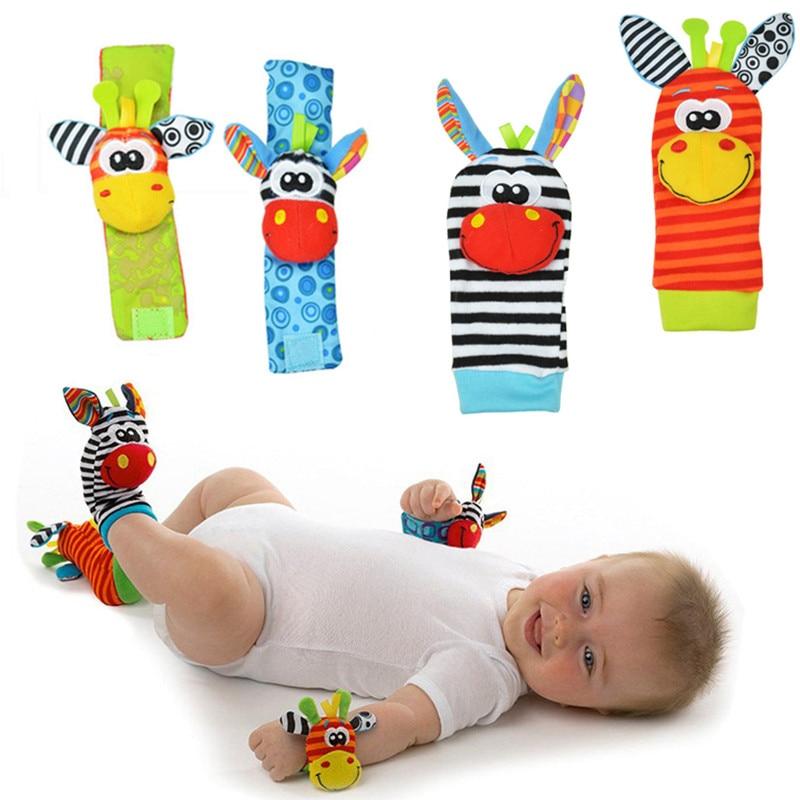 Sozzy Cartoon 2 piece Zebra New Baby Infant Soft Socks Wrist Rattle Set Educational Best Gift Toys for Children 20%Off