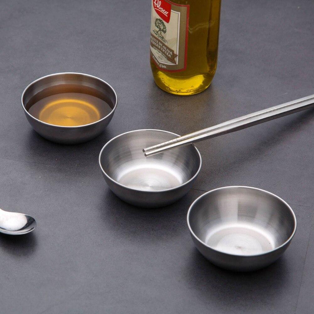 Plato de salsa pequeño de acero inoxidable 10/5 uds, plato de cocina para Sushi, vinagre, soja, plato para salsa, vajilla para el hogar, bandeja de condimentos para comida