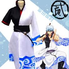 Аниме Gintama Cosplay - Gintama Cosplay Silver Soul Sakata Gintoki мужской костюм для вечеринки на Хэллоуин Бесплатная доставка