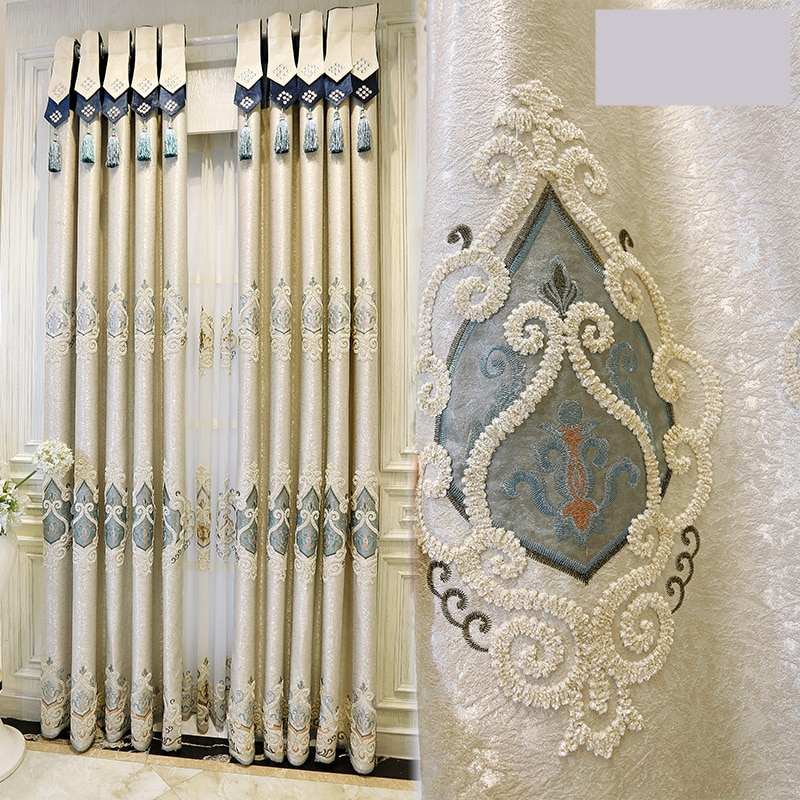 Custom curtains Luxury European style villa with velvet  embroidered curtain bedroom windows curtain and tulle E106