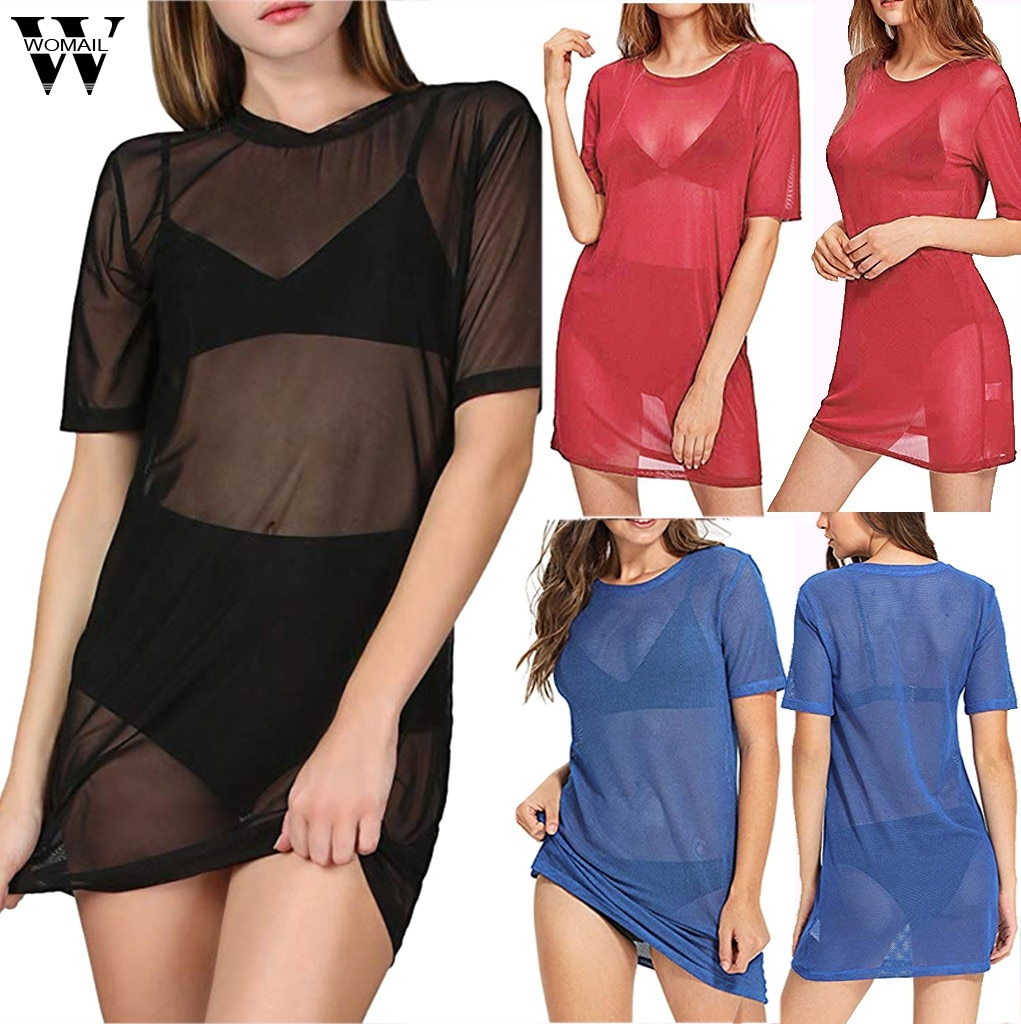 Womail vestido moda nueva mujer playa cubrir Ups manga corta ver a través de Sheer malla T Shirt vestidos Dropship Feb28