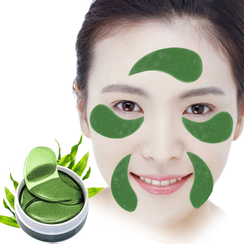 Seaweed Collagen Eye Mask Anti-Wrinkle Dark Circles Remover Eye Patches for The Eyes Skin Care Moisturizing Whiten 60pcs/bottle