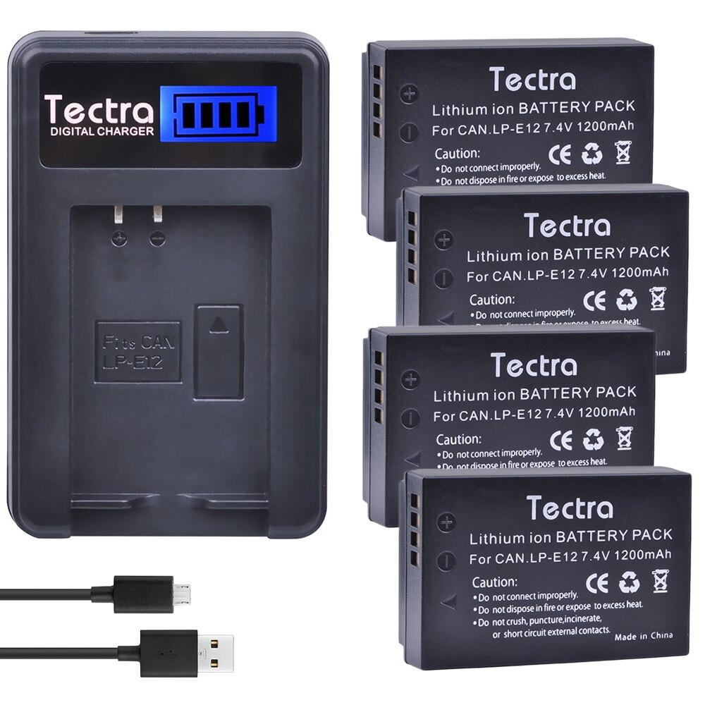 Tectra 4 Uds LP-E12 LPE12 Cámara Li-Ion batería + cargador USB con...