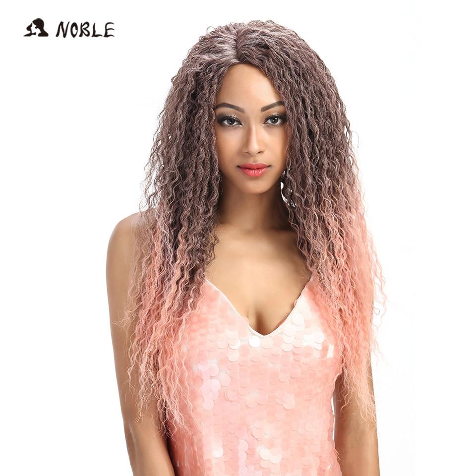 Pelucas largas rizadas sintéticas de pelo Noble para mujeres negras, peluca de encaje Ombre de 26 pulgadas, pelo resistente, envío gratis