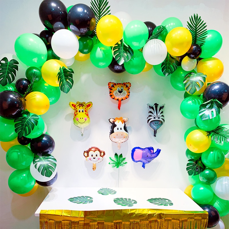 "Animal Foil Balloons Decoration Birthday/Safari Party Green/White/Black/12""/5"" Latex Balloons 100pcs Baby Shower"