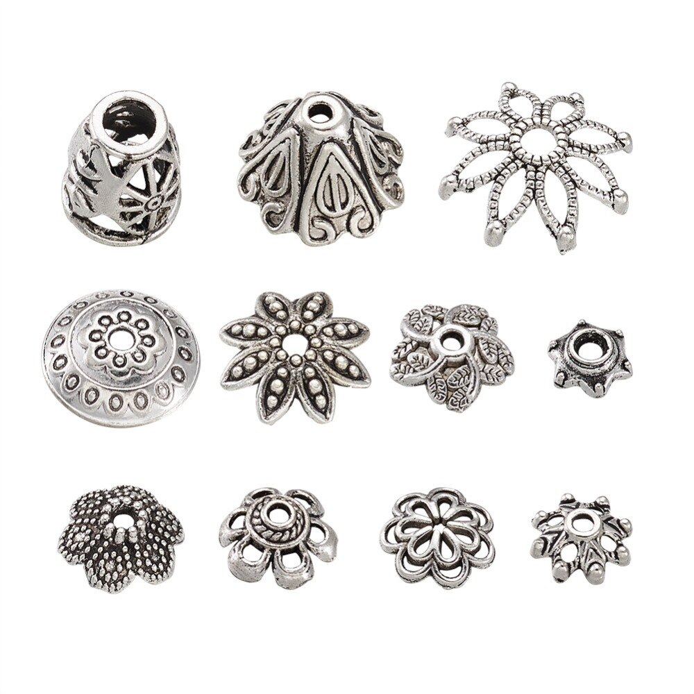 PandaHall 50g estilo mixto aleación estilo tibetano Bead End Caps para hallazgos de joyería Color plata antiguo 5 ~ 19x3 ~ 7mm alrededor de 50 uds/50g