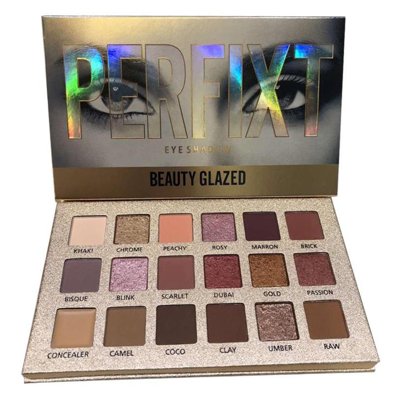 Beleza vitrificada 18 cores nude eyeshadow maquiagem pigmentos shimmer à prova dwaterproof água brilho nude sombra de olho compõem paleta