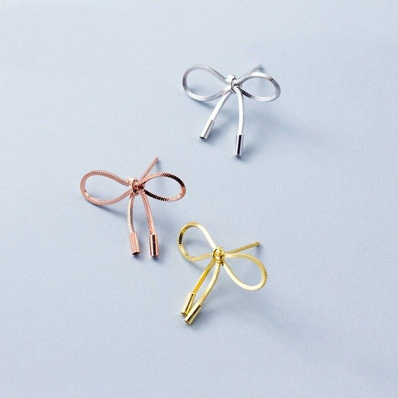 Pendientes de plata de ley 100% 925 bonitos con pasador y lazo para mujer, pendientes con pasador a la moda para niñas G1112
